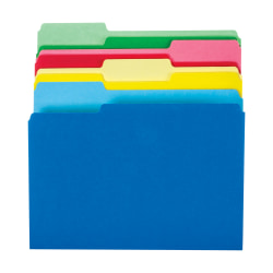 Office Depot® File Folders, Letter Size, 1/3 Cut, Assorted Colors, Pack Of 24 Folders