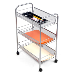 "Mind Reader Roll 3-Shelf Metal Mesh Cart, 24""H x 17""W x 10""D, Silver"