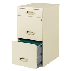 """Realspace® 18""""D Vertical 3-Drawer File Cabinet, Metal, Pearl White"""