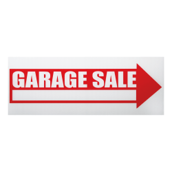"Cosco® ""Garage Sale"" Sign With Stake Kit, 6"" x 17"", Red/White"