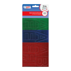 """Creative Start® Self-Adhesive Letters And Numbers and Symbols, 2"""", Helvetica, Glitter Green, Blue and Red, Pack Of 300"""