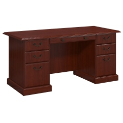 kathy ireland® Home by Bush Furniture Bennington Executive Desk, Harvest Cherry, Standard Delivery