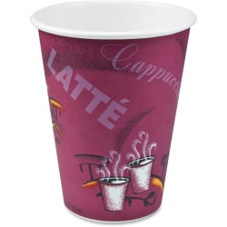 Solo Bistro Design Disposable Paper Cups - 12 fl oz - 50 / Pack - Maroon - Paper - Beverage, Hot Drink, Cold Drink, Coffee, Tea, Cocoa