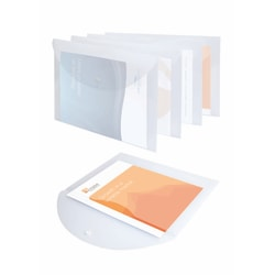 Office Depot® Brand Poly Snap Document Files, Clear, Pack Of 5