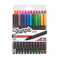 Sharpie® Porous Art Pens, Fine Point, 0.8 mm, Black Barrel, Assorted Ink Colors, Pack Of 24