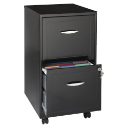 "Realspace® 18""D Vertical 2-Drawer Mobile File Cabinet, Metal, Black"