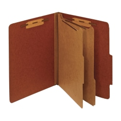 """Office Depot® Brand Classification Folders, 2 1/2"""" Expansion, Letter Size, 2 Dividers, 100% Recycled, Brick Red, Pack Of 5 Folders"""