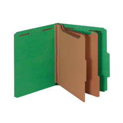 """Office Depot® Brand Classification Folders, 2 1/2"""" Expansion, Letter Size, 2 Dividers, 100% Recycled, Light Green, Pack Of 5 Folders"""