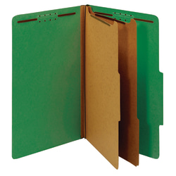 "Office Depot® Brand Classification Folders, 2 1/2"" Expansion, Legal Size, 2 Dividers, 100% Recycled, Light Green, Pack Of 5 Folders"