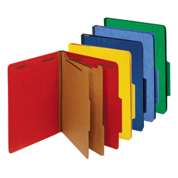 "Office Depot® Brand Classification Folders, 2-1/2"" Expansion, 2 Dividers, 8 1/2"" x 11"", Letter, 30% Recycled, Blue;Light Blue;Yellow;Green;Red, Box of 5"