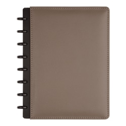 TUL® Discbound Notebook, Junior Size, Leather Cover, Narrow Ruled, 120 Pages (60 Sheets), Gray