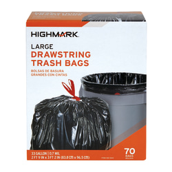 Highmark™ Large Drawstring Trash Bags, 33 Gallon, Black, Box Of 70 Bags