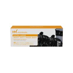 "Highmark™ Heavy Duty 0.9 mil. Extra-Large Trash Bags, 45 Gallon, 45"" x 38.75"", Black, Box Of 24"