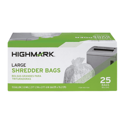 Highmark™ Large Shredder Bags, 15 Gallon, Clear, Box Of 25 Bags