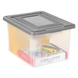 IRIS® File N Stack Plastic Storage Containers With Snap Lids, Case Of 2