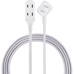 Cordinate Braided 3-Outlet Indoor Extension Cord, 8', Gray/White, 39980-T1