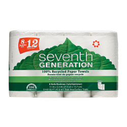 Seventh Generation 100% Recycled Paper Towels - 2 Ply - 156 Sheets/Roll - White - Paper - Absorbent, Chlorine-free, Chemical-free, Dye-free, Fragrance-free - 156 - 32 / Carton