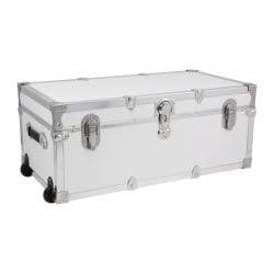 "Advantus Stackable Footlocker Trunk With Wheels, 15-3/4"" x 30"" x 12-1/4"", White/Nickel"