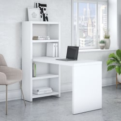 """kathy ireland® Office by Bush Business Furniture Echo 56""""W Bookcase Desk, Pure White, Standard Delivery"""