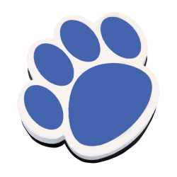 """Ashley Productions Magnetic Whiteboard Erasers, 3 3/4"""", Blue Paw, Pack Of 6"""