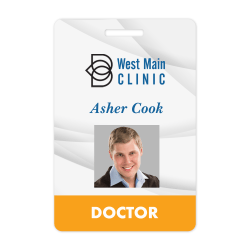 "Custom Full-Color Plastic ID Badge With Slot, 2 1/8""x 3 3/8"""