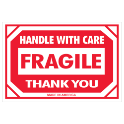 "Tape Logic® Preprinted Shipping Labels, DL1053, Fragile — Handle With Care, Rectangle, 2"" x 3"", Red/White, Roll Of 500"