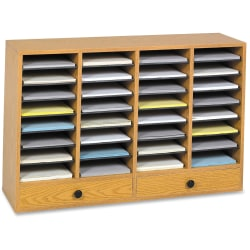 "Safco Adjustable Compartment Literature Organizers - 32 Compartment(s) - 2 Drawer(s) - Compartment Size 2.50"" x 9.50"" x 11.50"" - Drawer Size 2.75"" x 17.50"" - 25.3"" Height x 39.3"" Width x 11.8"" Depth - Oak - Wood, Fiberboard, Hardboard - 1Each"