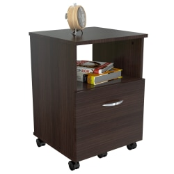 "Inval 15-2/3""D Vertical 1-Drawer Mobile File Cabinet, Espresso Wengue"