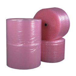 """B O X Packaging Anti-Static Air Bubble Rolls, 1/2"""" x 24"""" x 250', Pink, Pack Of 2"""