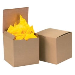 """Box Packaging Kraft Gift Boxes, 6"""" x 6"""" x 4"""", Case Of 100"""