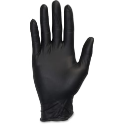 Safety Zone Medical Nitrile Exam Gloves - Large Size - Nitrile - Black - 100 / Box