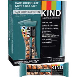 KIND Dark Chocolate, Nuts & Sea Salt Bars, 1.41 Oz, Box Of 12