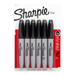 Super Sharpie® Permanent Markers, Black, Pack Of 6 Markers
