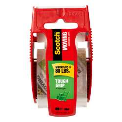 "Scotch® Tough Grip Moving Packing Tape With Dispenser, 1-7/8"" x 22.2 Yd., Clear"