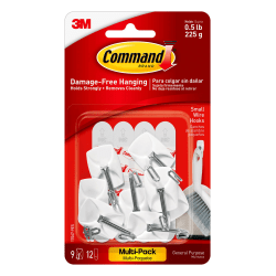 3M™ Command™ Wire Hooks, Small, Pack Of 9 Hooks