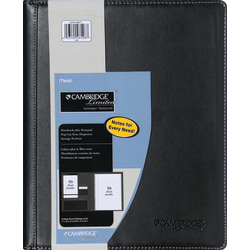 "Cambridge® Notetaker Refillable Notebook, 8 1/2"" x 11"", College Ruled, 80 Sheets Total, Black"
