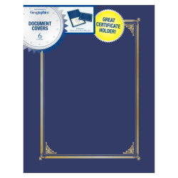 """Geographics® 30% Recycled Document Covers, 9 3/4"""" x 12 1/2"""", Navy Blue, Pack Of 6"""