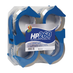 "Duck® HP260™ Packaging Tape, In Dispenser, 2"" x 60 Yd., Clear, Pack Of 4"