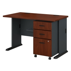 "Bush Business Furniture Office Advantage 48""W Desk With Mobile File Cabinet, Hansen Cherry/Galaxy, Standard Delivery"