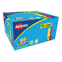 Avery® Hi-Liter® Desk Style Highlighters, Chisel Tip, Assorted Colors, Pack Of 24