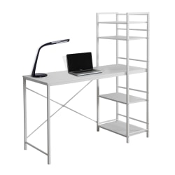 Monarch Specialties Metal Computer Desk With Bookcase, White