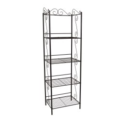 Monarch Specialties 4-Shelf Metal Etagere Bookcase With Scroll Motif, Copper