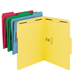 Smead® Color Reinforced Tab Fastener Folders, Letter Size, Assorted Colors, Pack Of 50