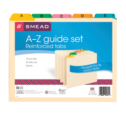 Smead® Manila A To Z File Guides With Color Tabs, Letter Size, Manila, Pack Of 25