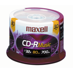 Maxell® Music CD-R Media Spindle, 700MB/80 Minutes, Pack Of 30