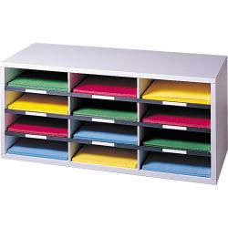 """Fellowes® 12-Compartment Desktop Organizer, 12 15/16"""" x 11 7/8"""", Dove Gray"""