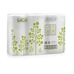 LoCor 2-Ply Toilet Paper, White, 1500 Sheets x 18 Rolls