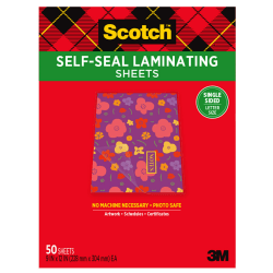 """Scotch® Self-Seal Laminating Sheets, 8-1/2"""" x 11"""", Clear, Pack Of 50 Sheets"""