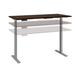 "Bush Business Furniture Move 60 Series 60""W x 24""D Height Adjustable Standing Desk, Mocha Cherry/Cool Gray Metallic, Standard Delivery"