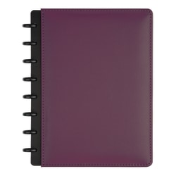 TUL® Discbound Notebook, Junior Size, Leather Cover, Narrow Ruled, 120 Pages (60 Sheets), Purple